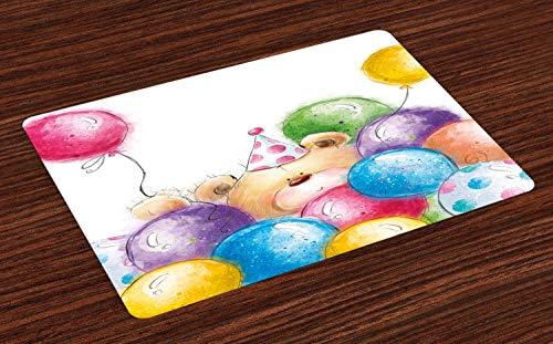 ABAKUHAUS Kindergeburtstag Platzmatten, Handgezeichnete Stil Childish Design Teddybär Spielzeug und bunten Luftballons Print, Tiscjdeco aus Farbfesten Stoff für das Esszimmer und Küch, Mehrfarbig
