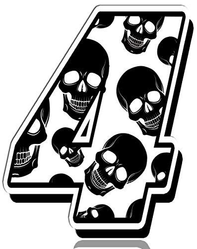 Biomar Labs® Startnummer Nummern Auto Moto Vinyl Aufkleber Sticker Skull Schädel Totenkopf Motorrad Motocross Motorsport Racing Nummer Tuning 4, N 334