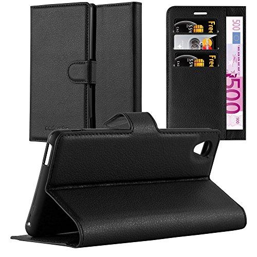 Cadorabo Hülle für Sony Xperia M4 Aqua - Hülle in Phantom SCHWARZ – Handyhülle mit Kartenfach & Standfunktion - Case Cover Schutzhülle Etui Tasche Book Klapp Style
