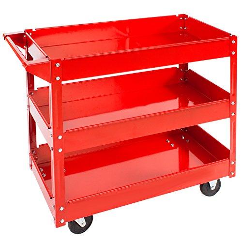 TecTake Carro de taller de herramientas Carro con ruedas de montaje - varios modelos - (3 grandes superficies de carga | No. 400880)