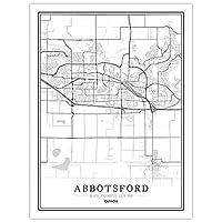 キャンバスに印刷カナダクリエイティブシティマップ抽象的なキャンバス絵画黒と白の壁アートプリントアボッツフォードポスターピクチャーホーム装飾絵画リビングルーム、フレーム40×60Cmなし