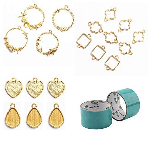19 marcos dorados de metal enmarcados para creación de joyas de resina epoxi UV, cintas incluidas para manualidades de colgantes, collares con colgantes de San Valentín
