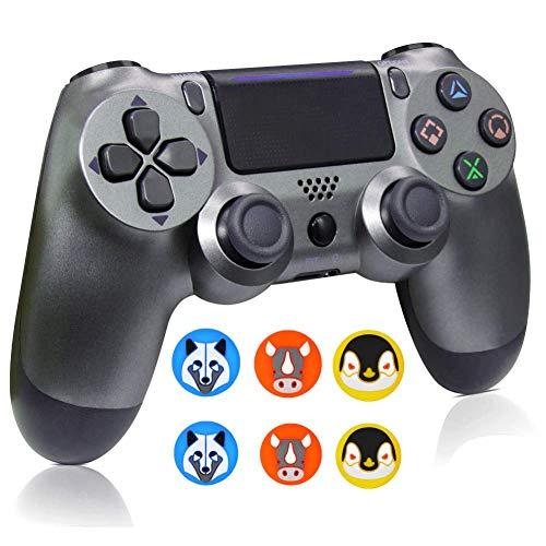 Kabellose Controller für PS4, kabellose Fernbedienung für Sony Playstation 4, YU33 PS4 Joystick Gamepad für PS4 Controller mit Ladekabel und 3 Stück Daumengriffe, Drittanbieter, 2020, Stahl schwarz