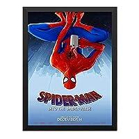 装飾画 スパイダーマン スパイダーバース マーベル 8ポスター 部屋飾り インテリア絵画 木製黒フレーム付 部屋装飾 新築祝い 贈り物 A4(33x24cm)