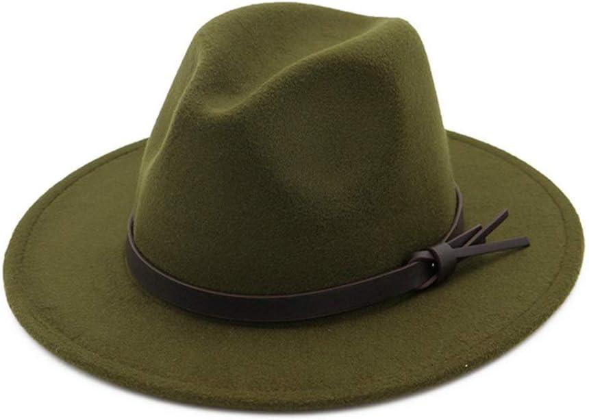no-branded Men Women Flat Wide Brim Jazz Hat Cotton Hat Fedora Hat Belt Buckle Ladies Formal Party Autumn Winter Hat ZRZZUS (Color : Dark Green, Size : 56-58cm)