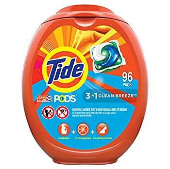 Tide PODS Laundry Detergent Soap PODS High Efficiency  HE  Clean Breeze Scent 96 Count  Packaging May Vary