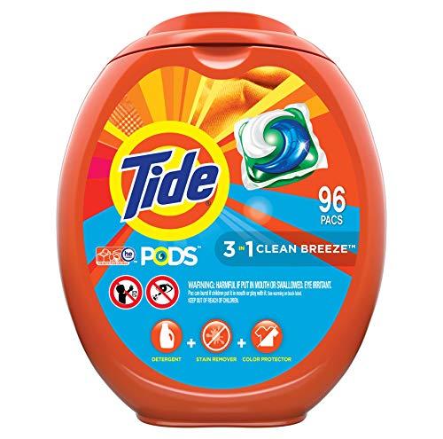 Tide PODS Jabón detergente para ropa PODS, alta eficiencia (HE), aroma de brisa limpia, 96 unidades (el embalaje puede variar)
