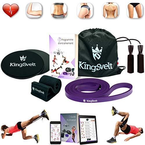 KingSvelt® 4 in 1 Fitness Kit - Kit de gimnasia en casa, kit de musculación [banda elástica, banda de resistencia, cuerda de saltar, discos de fitness] & [bolsa de almacenamiento, programa de entrenam