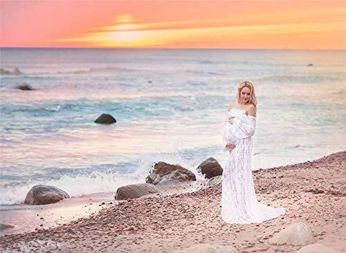Witte Zwangerschap Dress Maternity Wrap Lace Long Maxi Jurk fotografie rekwisieten Off Schouders Trailing Jurken voor Fotoshoot Wedding