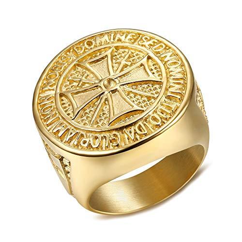 BOBIJOO JEWELRY - Anillo Anillo Anillo de Hombre de la Orden de los Caballeros Templarios Bruto de la Cruz de Malta de Acero Chapado en Oro Doradas - 33 (15 US), Dorado - Acero Inoxidable 316