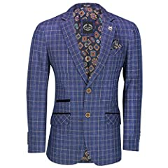 Perfect for Every Day Use Smart Casual, Formal Work, Wedding Party Please visit our Store for New Collection of Suits, Blazers and Waistcoats Mens Classic Brown and Blue Over Checked Blazers by XPOSED London Single Breasted with 2 Button Front, 2 Ven...