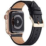 QAZNZ Lederarmband Kompatibel mit Apple Watch Armband 40mm 38mm 44mm 42mm, Original Leder Ersatzband...