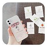 人気モデルINSスタイルハート漫画2020カレンダーカード電話ケースiphone 6 6 s 7 8プラス11プロXsマックスXR XクリアソフトTPUバックカバーケース-style-For 6Plus or 6sPlus