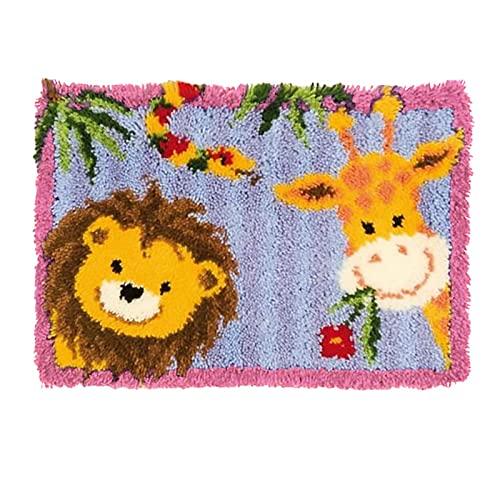 """NZHK DIY Reno Latch Kits de Gancho Alfombra Crochet Tapis Encantadora Animal Bordado Alfombra de Ganchillo 20""""x 15"""",Lion Giraffe"""