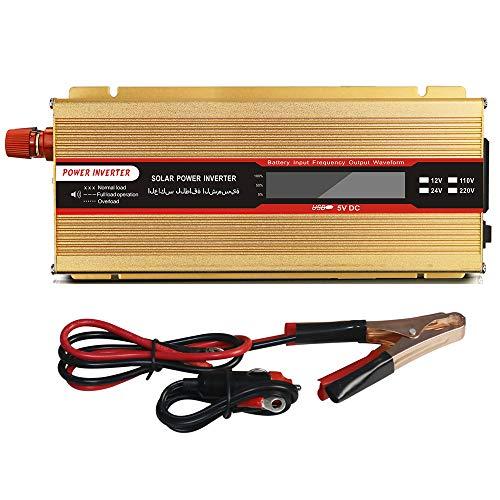 HPDOV Reiner Sinus Wechselrichter,Spannungswandler 12V/24V auf 230V Kontinuierlich 2000W(Peak 4000W) Konverter mit Mit Buchse und USB-Anschluss,Geeignet für Zuhause, Outdoor,12v