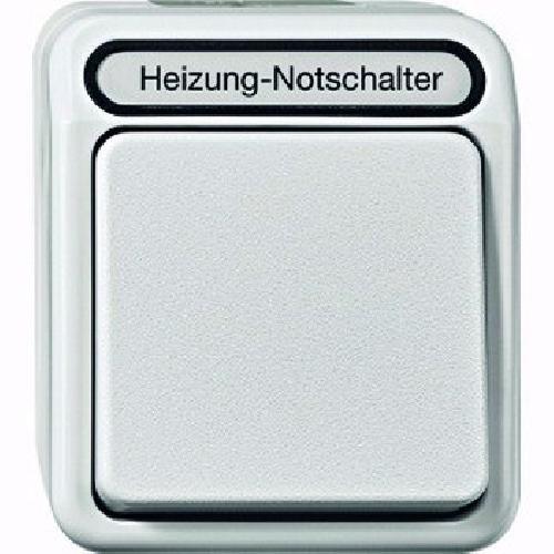 Merten MEG3449-8029 Heizungs-Notschalter, Aus, 2-polig mit Kontrolllicht, lichtgrau, AQUASTAR