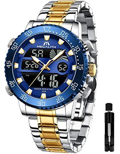 MEGALITH Reloj Digital para Hombre Relojes Deportivos Militares Dorados para Hombres Reloj de Pulsera de Acero Inoxidable Relojes analógicos Grandes LED a Prueba de Agua Calendario de Alarma Luminosa