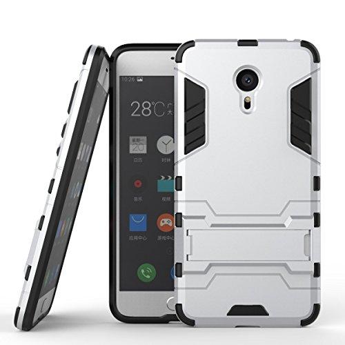 Tasche für Meizu MX 6 Pro Hülle, Ycloud das stärkste Handy Shock Proof Armor Dual Schutzabdeckung Hochfeste PC Kunststoffoberschale Shockproof mit Halterung Schutzabdeckung Silber
