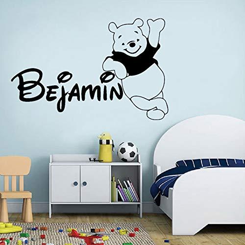 Yaonuli Gepersonaliseerde naam beer patroon muursticker beer mode vinyl sticker afneembare kinderkamer decoratie wandafbeeldingen
