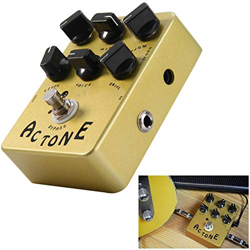 ZXCV Electric Guitar Effect Pedal True Bypass Design AC Tone Vox Amp Simulator,Yellow