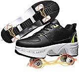 SHHAN Patines De Ruedas para Niños Zapatos Multiusos 2 En 1 Deformación Ajustables Patines En Paralelo Adolescentes Y Adultos Zapatos Caminar Automáticos,Black and Green,38