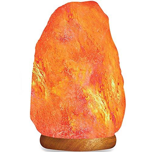 HemingWeigh Lampada di Sali Naturali dell Himalaia 2.7-3kg con Base in Legno, Filo Elettrico e Lampadina