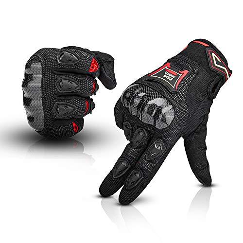 ISSYZONE Motorradhandschuhe Handschuhe Motorrad, Kohlefaser Motorradhandschuhe mit Touchscreen Wasserdicht für Motocross Racing ATV Cycling Outdoor Sports (XL)