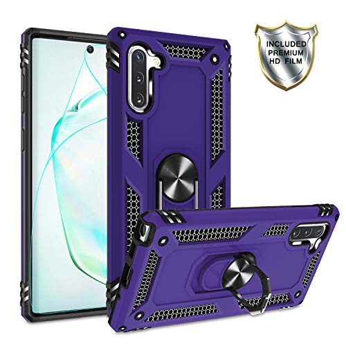 Galaxy Note 10 Case with HD Screen Protector Ring Holder Kickstand,Gritup [Military Grade] Magnetic Car Mount Full Body Shockproof Cover Phone Case for Samsung Galaxy Note 10 Purple