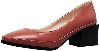 ELEEMEE Women Comfort Block Heel Pumps