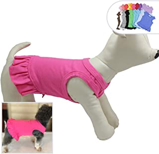 Lovelonglong 2019 Dog Dress Sports Tee-Dresses Tanks Top for Miniature Small Size Female Dogs 100% Cotton 18 Colors