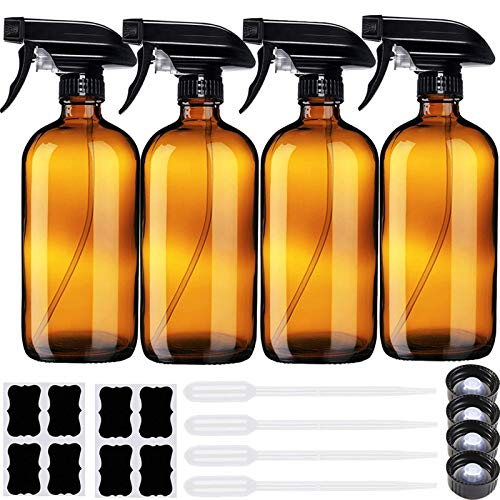 16 oz Empty Amber Glass Spray Bottle with Labels, for Kitchen, Cleaning Solutions, Hair, Essential Oils, Cleaner, Aromatherapy Facial Hydration or Watering Flowers Trigger Spraying Plant.…