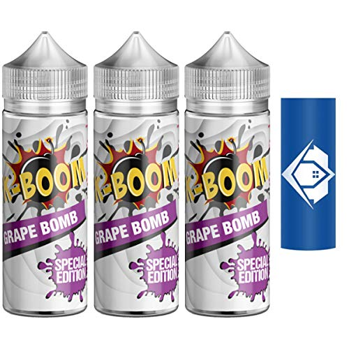 3x K-BOOM 10 ml Aroma 2020 Edition   Vapebude Akkuwrap Bundle (3x Grape Bomb)