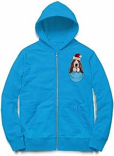 Fox Republic ハウンドドッグ サンタクロース クリスマス ポケット 犬 オーシャンブルー キッズ パーカー シッパー スウェット トレーナー 110cm