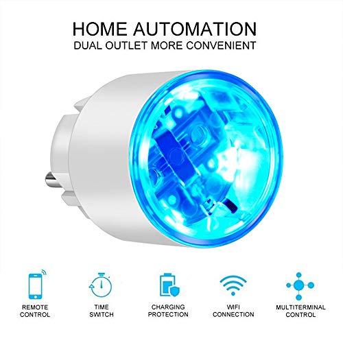 WiFi enchufe inteligente funciona con Amazon Alexa, ECHO, mini Outlet inteligente con monitoreo de energía, control remoto de la aplicación y función de temporizador, no se requiere concentrador,3BACK