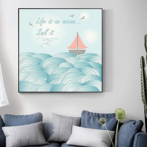 N / A Rahmenlose Malerei Nordic Cartoon Wal Schiff Ozean Poster und Leinwand Moderne niedliche HeimdekorationZGQ7978 40X40cm