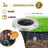 [GARANZIA A VITA] 4 Pezzi, Luce Solare da Giardino 16 LED Luce 100LM,600mAh Batteria Integ...
