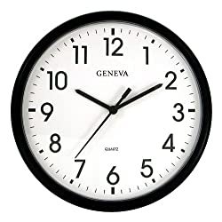 Geneva Black 13-1/2-Inch Quartz Wall Clock