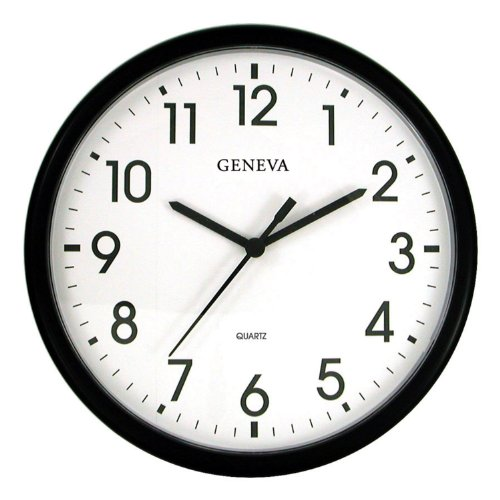Geneva Black 13-1/2-Inch Quartz Wall Clock