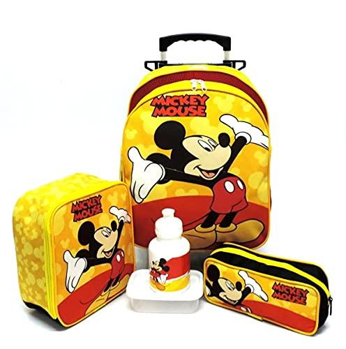 Kit Mochila Infantil Escolar Mickey Rodinhas Amarelo M F5