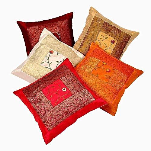 Indus Life espace - Juego de 5 fundas de cojín de seda con bordado a mano étnico indio, tamaño 40,6 x 40,6 cm