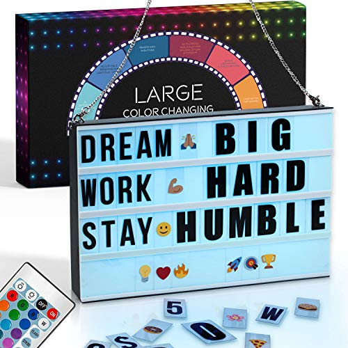 LARGE Color Changing Cinema Light Box with Letters - 327 Letters, Numbers & Emojis | 16 Colors Remote-controlled PREMIUM Cinematic Marquee Sign Light Box | NEW for 2020! LED Light Up Letter Box Sign
