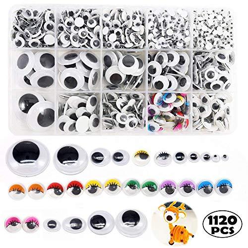 1120 Piezas Adhesivos Ojos Plástico, Móviles Manualidades Ojo, para DIY Craft Scrapbooking Accesorios, Teddy Bear Muñeca Hacer Juguetes Ojos