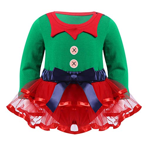 Alvivi Pelele Nvidad Bebé Niña Disfraz Elfo Body con Manga Larga Tul Tutú Vestido de Cumpleaños Ropa de Dormir Jumpsuit Roper Disfraz de Duende Verde 12-18 Meses