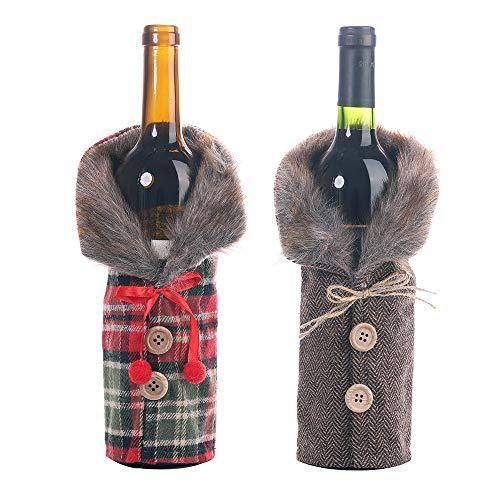 5 Stück Christmas Tischdeko Party Deko Weihnachten Weinflasche Flaschen Deko Flaschen Anzug Weinrot Weinflasche Flaschenanzug Gestreiftes Gitter Flaschetasche Romantisch Geschenke Weihnachtsschmuck