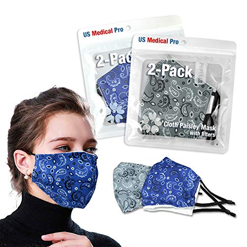2 Pack Face mask Cover with 2 PM 2.5 filter, Washable mask, Reusable. Anti dust, Cloth face mask with filter (Paisley (Blue/Gray))