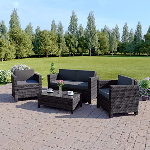 New ROMA Rattan Wicker Weave Garden Furniture Patio Conservatory Sofa Set (Grey)