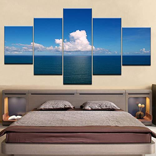 eternity-blauwe zee en hemel 5 platen/stuks Hd Print Moderne muurposter canvas kunst schilderij voor huis woonkamer decoratie