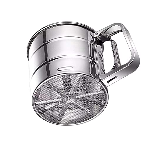 Double Layers Sieve Stainless Steel Hand-held Flour Sifter for Baking Strainer sifters for cooking with Handle flour sifter hand held (Small(3 Cup))