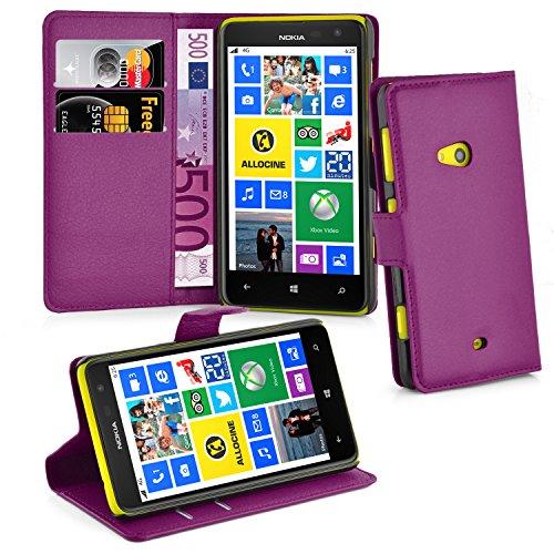 Cadorabo Hülle für Nokia Lumia 625 - Hülle in Mangan VIOLETT – Handyhülle mit Kartenfach und Standfunktion - Case Cover Schutzhülle Etui Tasche Book Klapp Style