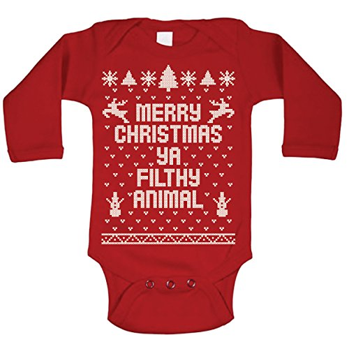 Ya Filthy Animal Merry Christmas Ugly Christmas Sweater Contest Party Baby Long Sleeve One Piece Newborn Red
